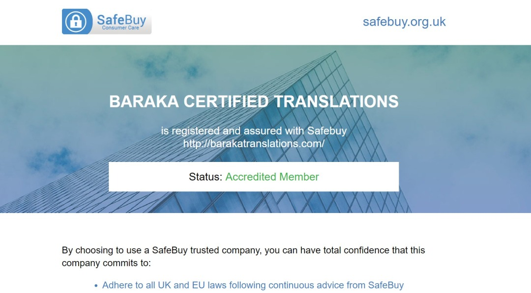 safebuy certificate