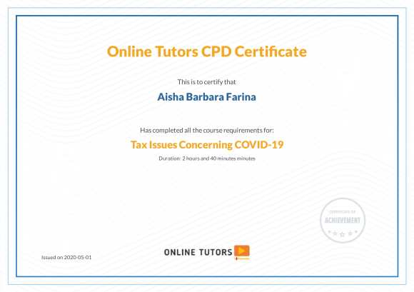 Aisha Barbara Farina - TAX ISSUES covid-1